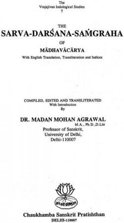 Sarvadarsanasamgraha Of Madhavacarya (With English Translation, Transliteration and Indices)